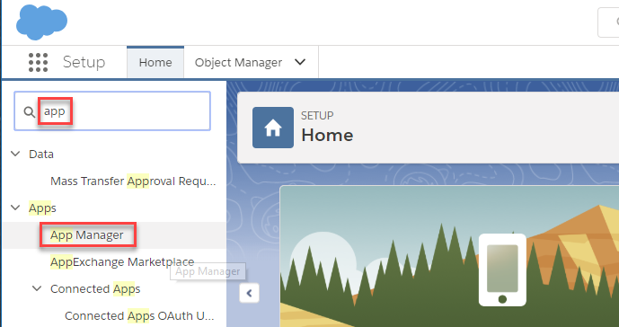 Searching Salesforce App Manager to create an OAuth App