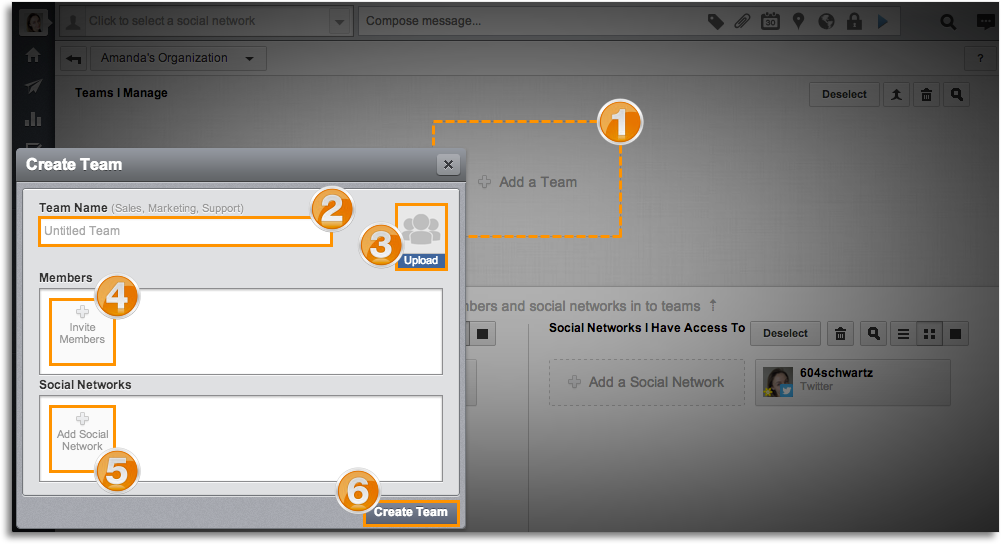 Create teams on Hootsuite