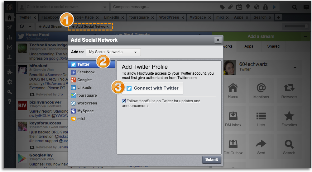 Add your social networks to Hootsuite
