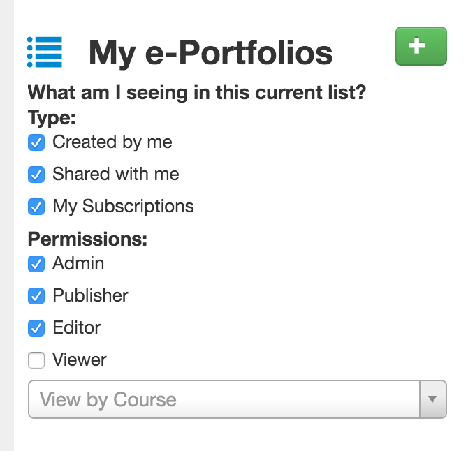 Detailed screen shot of the new user interface for My ePortfolios with the new icon and list of available options.