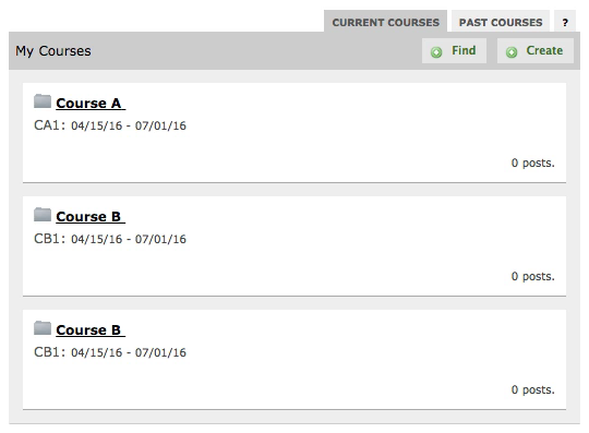 A screen capture depicting the resulting three courses after an unmerge takes place.