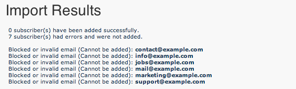 Import Results for role-based email addresses