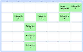 calendar displaying scheduled Follow Up Series messages