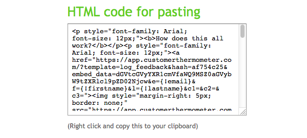 Cpy the HTML code