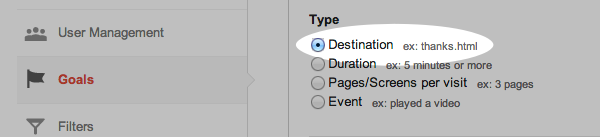 Select the destination type