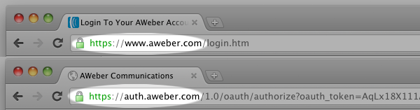 AWeber URL in Chrome