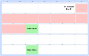 calendar displaying scheduled Broadcast messages