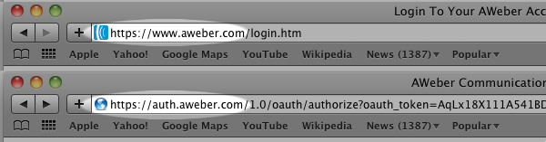 AWeber URL in Safari