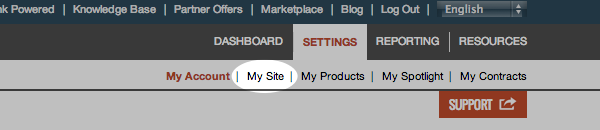 Select My Site from Settings