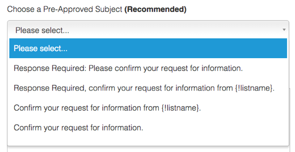 Set up confirmation message subject line