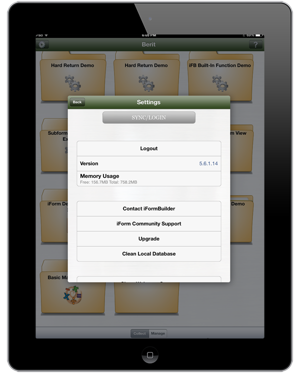 iOS iForm App Settings