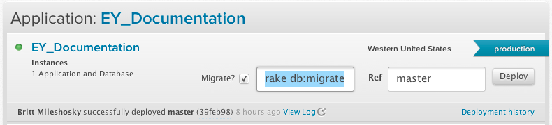 Enter your migration command and click the deploy button for your application