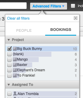 Crew Planning Filter Panel - Bookings