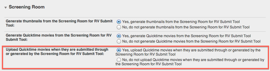 Screening Room Preferences